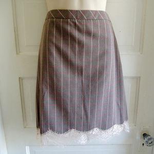 Chelsea 28 Brown Plaid Pencil Skirt w/Lace Trim M
